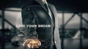 Vivent votre rêve avec le concept d'homme d'affaires d'hologramme Photo stock
