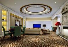 vivere dell'interiore 3 3d moderno rende la stanza Immagine Stock