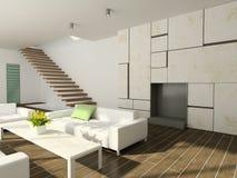 vivere dell'interiore 3d moderno rende la stanza Fotografie Stock