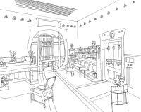 Vivere di Art Nouveau Interior disegnato a mano Immagini Stock