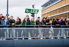 Vivez local placard at global movement Fridays for Future royalty free stock photo