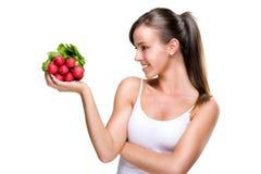 Vivez longtemps sainement, en mangeant de bonnes nourritures Photographie stock libre de droits