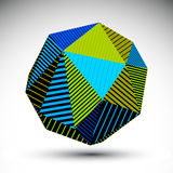 Vivid abstract 3D spatial vector contrast figure, art spherical. Striped object. Graffiti bright geometric element  on white background Royalty Free Stock Images
