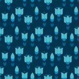 Vivid blue color abstract tulip flower motif. Stock Photos