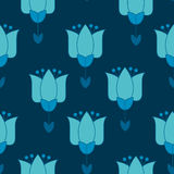 Vivid blue color abstract tulip flower motif. Stock Photography