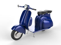 Vivid blue old style scooter. On white background Stock Photo