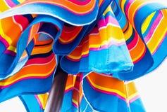 Vivid blue and orange of beach umbrella royalty free stock photo