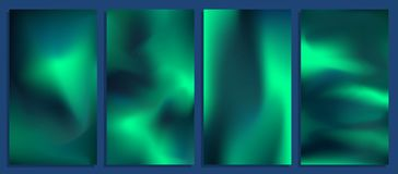 Vivid Blurred Holographic Gradient Backgrounds, Vector Colorful Posters Royalty Free Stock Images