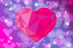 Vivid bokeh with big crystal heart. Background with highlights.  Stock Image