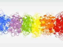 Vivid bright abstract bubbles circles background illustration. Abstract bubbles and circles in vivid rainbow colors overlap each other in this bright, vivid, and Royalty Free Stock Photo
