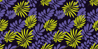 Vivid bright color tropical leaves seamless pattern Royalty Free Stock Photos