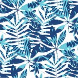 Vivid bright jungle foliage seamless pattern. Geometric sophisticated leaves endless repeatable motif for surface design. Abstract modern summer seamless Stock Images