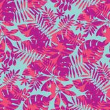 Vivid bright jungle foliage seamless pattern. Geometric sophisticated leaves endless repeatable motif for surface design. Abstract modern summer seamless Royalty Free Stock Image