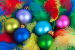 Vivid Christmas globes colorful balls. Stock Photos