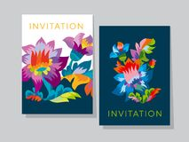 Vivid color bright naive flower pattern. Folk rustic flowers ornament for header, card, invitation, poster, cover and other web and print design projects Stock Images