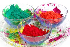 Vivid color gulal kept in a bowl focus on red Stock Photography