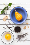 Vivid Color Pumpkins, Lavender Cookies and Coffee. On a White Background. Overhead View Stock Photos