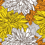 Vivid color seamless background with hand drawn flowers. Vector Stock Photo