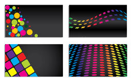 Vivid colored business card set on black Stock Photos