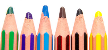 Vivid colored crayons, pens Royalty Free Stock Images