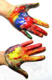Vivid colored hands Royalty Free Stock Photos
