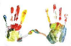 Vivid colored hands Royalty Free Stock Image