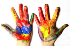 Vivid colored hands Royalty Free Stock Images