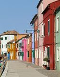 Vivid colored houses on the island of Burano in Venice Stock Images