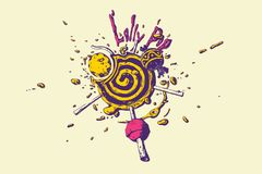 Vivid colored lollipop liquid vector isolated illustration. Eps 10 Royalty Free Stock Photos