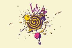 Vivid colored lollipop liquid vector isolated illustration. royalty free illustration