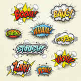 Vivid colorful comic sound effects set. Over beige background Stock Images