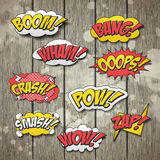 Vivid colorful comic sound effects set Stock Photos