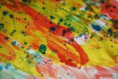 Vivid energetic colorful golden pink spots texture paint watercolor spots Stock Photos