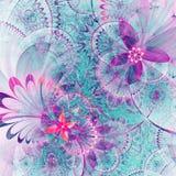 Vivid colorful fractal flowers Stock Images