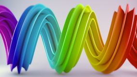 Vivid colorful twisted spiral shape 3D render with DOF Royalty Free Stock Photos