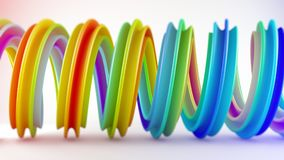 Vivid colorful twisted spiral shape 3D rendering with DOF. Vivid colorful twisted spiral shape. Computer designed abstract geometric 3D rendering with DOF Royalty Free Stock Photography