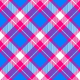 Vivid colors checkered pattern diagonally oriented seamless tile. Red blue white checkered pattern diagonally oriented seamless tile Royalty Free Stock Photography