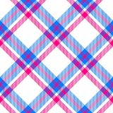 Vivid colors checkered pattern diagonally oriented seamless tile. White blue red checkered pattern diagonally oriented seamless tile Royalty Free Stock Photo