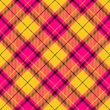 Vivid colors checkered pattern diagonally oriented seamless tile. Yellow pink brown checkered pattern diagonally oriented seamless tile Royalty Free Stock Image