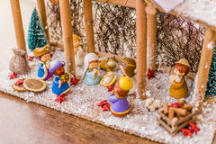 Vivid colors of Christmas Nativity scene Royalty Free Stock Images