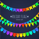 Vivid colors rainbow flags garlands set isolated. Vivid colors rainbow flags garlands vector set isolated on dark background Stock Image