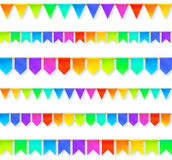 Vivid colors rainbow flags garlands set isolated. Vivid colors rainbow flags garlands vector set isolated on white background Stock Photography