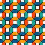 Vivid colors repeated hexagon tiles mosaic wallpaper. Seamless surface pattern with bright contemporary geometric print. Vivid colors repeated hexagon tiles stock illustration