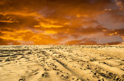 Vivid colors sunset at desert Royalty Free Stock Photo