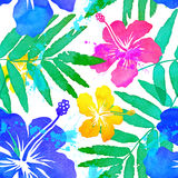 Vivid colors tropical flowers vector seamless Stock Photos