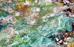 Vivid dark green orange soft background, hues, watercolor paint background. Dark green orange pink background, in blue green phosphorescent rainbow white hues stock illustration