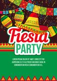 Vivid design of fiesta event poster. Stylish vector design of bright poster advertising ethnic Fiesta party with bright elements in layout on black and green Royalty Free Stock Photography