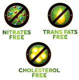 Vivid diet icon set. Food intolerance such as Nitrates free, trans fats free and cholesterol free. Isolated on white background Stock Photo