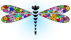 Vivid fantasy dragonfly. Vivid fantasy floral abstract dragonfly for design on white-blue (vector stock illustration