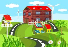 Vivid farmland, colored farm houses among green hills with roads. Countryside vector landscape, cartoon illustration stock illustration